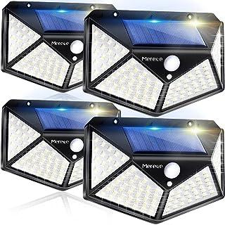 Solar Lights Outdoor 4 Pack, 100LED/3 Modes 270° Lighting Angle Motion Sensor Security Lights, Wireless IP65 Waterproof Wa...