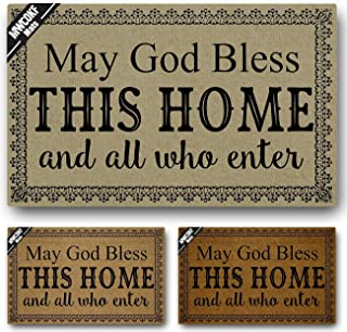 MWCOKF Funny Door Mat Non-Slip Back Rubber Entry Way Doormat Outside | May God Bless This Home and All Who Enter | Standard Outdoor Indoor Welcome Mat | Non-Woven Fabric 18 Inch x 30 Inch