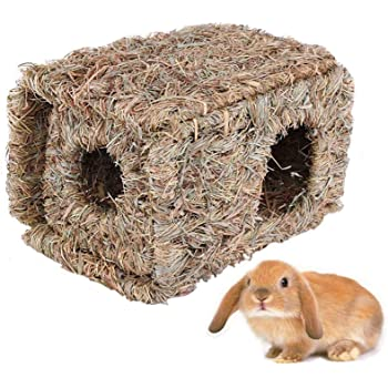 Hamiledyi Natural Rabbit Seagrass House Mat Hideaway Hut Toy,Hand Woven Folding Beds Sleeping Chew Toys for Guinea Pig Hamsters Chinchilla Ferret Bunny Small Animals
