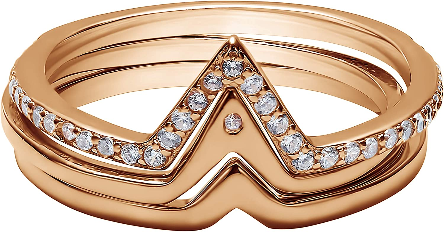 Rose Gold Plated Sterling Silver V Industry No. 1 with Trio Stack Shaped C Ring Genuine