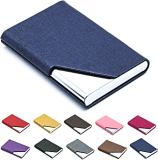 Business Name Card Holder Luxury PU Leather & Stainless Steel Multi Card Case,Business Name Card Holder Wallet Credit Card ID Case/Holder for Men & Women - Keep Your Business Cards Clean (Bronze)