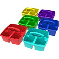 6-Case Storex 9.25 x 9.25 x 5.25 Inches Classroom Small Caddy (Assorted Colors)