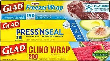 Glad Trash & Food Storage Plastic Food Wrap Variety Pack - Press'n Seal Wrap - FreezerWrap - ClingWrap (Pack of 3)...