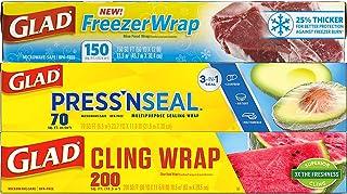 Glad Plastic Food Wrap Variety Pack - Press'n Seal Wrap - FreezerWrap - ClingWrap (Pack of 3)