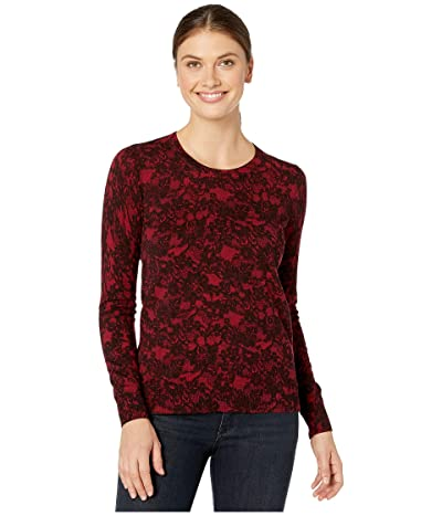 MICHAEL Michael Kors Print Lace Crew Long Sleeve Sweater (Red Currant) Women