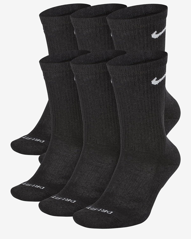 Nike Everyday Plus Cotton Cushioned Crew Socks (6 Pair) (Black, Large)