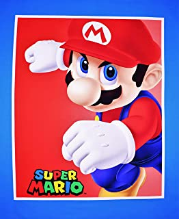 Mario Panel Super Mario in Blue 100% Cotton Fabric by The Yard