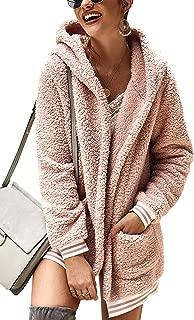 Women's Jacket Fleece Long Sleeve Open Front Hooded Jackets Cardigan Coat Top Winter Outwear with Pockets