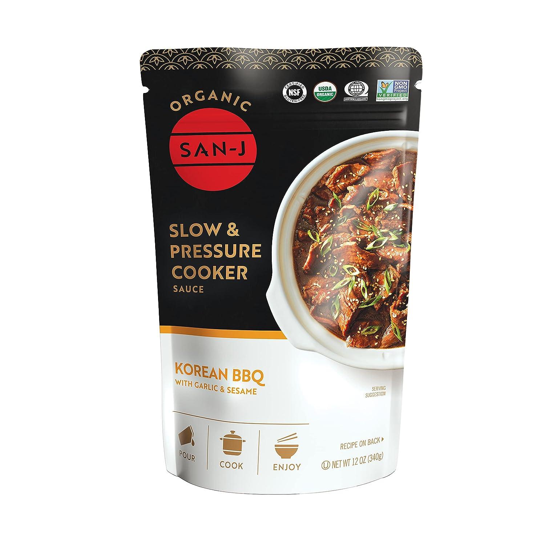 San-J Korean BBQ Sauce with Garlic & Sesame - Slow & Pressure Cooker Sauce - 12 Ounce (Pack of 1)