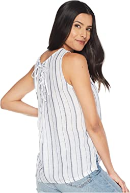 Sleeveless Beach Stripe Linen Tank Top