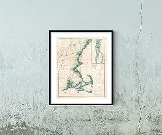 1873 U.S. Coast Survey Chart of of Cape Cod, Nantucket, Marthas Vineyard, and Cape Ann Map: Historic Vintage Reprint   Siz...