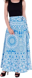 Indian Dresses Store VAIDIKI Women's Cotton Floral Printed Wrap Around Long Skirt (Free Size) Turquoise