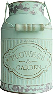 HyFanStr Shabby Chic Green Painted Milk Can Style Metal Vase Flower Pitcher Jug Pot