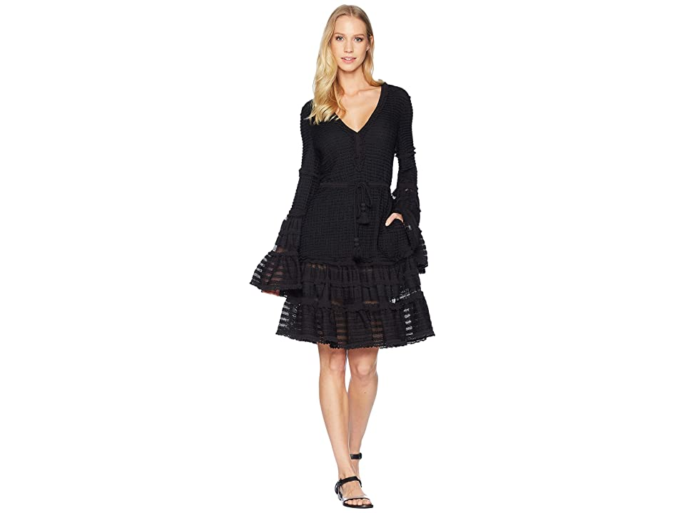 Jonathan Simkhai Knit Combo V-Neck Tiered Tasseled Dress Cover-Up (Black) Women