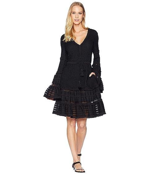 Jonathan Simkhai Knit Combo V Neck Tiered Tasseled Dress Cover Up