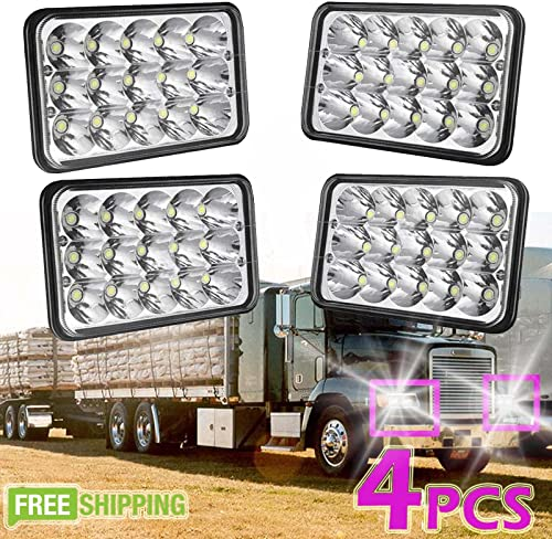 """discount 2 Pairs 4""""x6"""" Rectangular LED Headlights Fit For outlet sale 2002-2010 Freightliner wholesale Classic Hi Lo Sealed Beam 6000K White – 2 Year Warranty H4651 H4652 H4656 H4666 H6545 Replacement online sale"""
