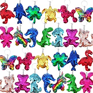 Danirora Flip Sequin Keychains, [48 Pack] Animal Shape Sequin Keychain Stickers for Goodie Bag Fillers for Kids Party Even...