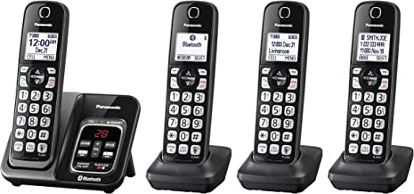 PANASONIC Expandable Cordless Phone System with Link2Cell Bluetooth, Voice Assistant, Answering Machine and Call Blocking - 4 Cordless Handsets - KX-TGD564M (Metallic Black)