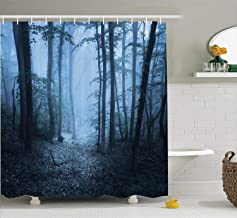 Ambesonne Farm House Decor Collection, Mysterious Dark Forest All in Fog Spooky Atmosphere Wet Humid Fantasy Nature Scene, Polyester Fabric Bathroom Shower Curtain Set with Hooks, Brown White