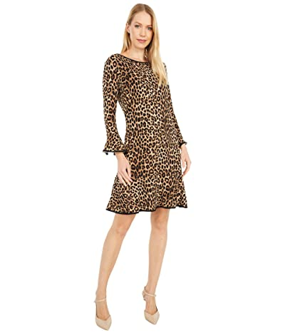 MICHAEL Michael Kors Cheetah Flounce Dress (Dark Camel) Women