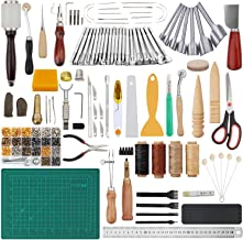 Dorhui 356 Pieces Leathercraft Tools Kit, Leather Working Tools and Supplies, Leather Craft Stamping Tools, Rivets Tools, Stitching Groover, Prong Punch, Leather Working Saddle Making Tools