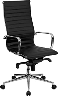Flash Furniture High Back Black Ribbed Leather Executive Swivel Office Chair with Knee-Tilt Control and Arms -