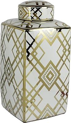Sagebrook Home Gold Decorative Ceramic Square Covered JAR, White, 9.25x9.25x18
