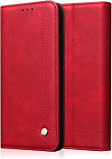 Wallet Case for Huawei P smart S Retro Flip Over With Card Slot Holder Anti-fingerprint 360 Degree Anti-drop Magnetic Leat...