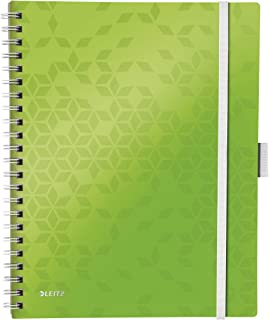 Leitz 46450054 A4 Stiff Cover Notebook, Wire Bound, 80 Sheets, Squared, 80 gsm Ivory Paper, WOW Be Mobile Range, Green