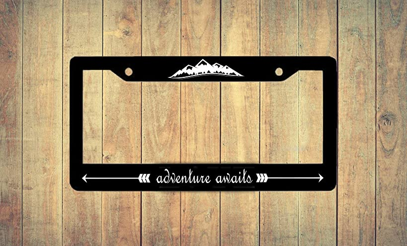 Dwi24isty Auto License Plate Frame Adventure Awaits License Plate Frame Car Tag Frame Decorative License Plate Frame