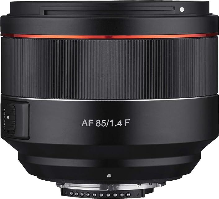 Samyang SA7073 - Objetivo AF para cámara Nikon F (85 mm F1.4 F 85 mm formato completo sin espejo réflex formato completo y APS-C con montura Nikon F rosca de filtro de 77 mm) negro
