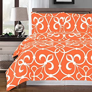 Victoria, Deluxe and Elegant Duvet Cover Set 100% Cotton contemporary patterns shades of Bronze black gray or Tangerine Includes coordinated shams King/California King 3 Piece Set, Tangerine/White