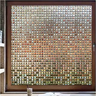 Rabbitgoo Decorative Window Film No-Glue (Brown), 3D Window Privacy Films for Glass, Non-Adhesive Window Privacy Clings for Window Decals & UV Blocking (Brown Mosaic, 35.4 x 78.7 inches)