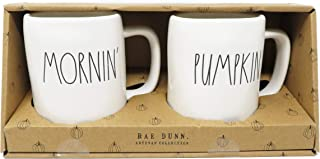 Rae Dunn By Magenta 2 Piece MORNIN' + PUMPKIN Ceramic LL Coffee Tea Mug Set 2019 Limited Edition