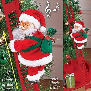 Escalada eléctrica Santa Claus en escalera, escalada de Santa muñeco de juguete creativo, adornos de Navidad, decoración d...