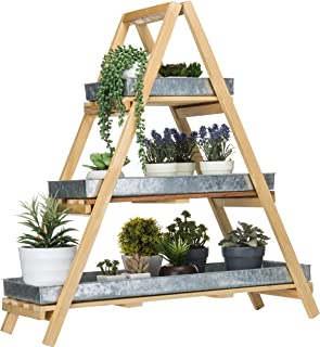 MyGift 3-Tier Rustic Wood A-Frame Plant Stand with Tin Trays