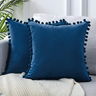 Top Finel Decorative Throw Pillow Covers Set with Pom-poms Soft Particles Velvet Solid Cushion Covers 24 X 24 for Couch Bedroom Car, Pack of 2, Navy