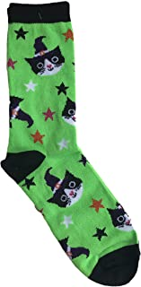 Witch Cats and Stars Green Novelty Crew Sock Halloween Themed