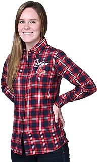 FOCO MLB Women's Wordmark Basic Flannel Shirt