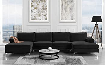 Modern Large Velvet Fabric U-Shape Sectional Sofa, Double Extra Wide Chaise Lounge Couch (Black)