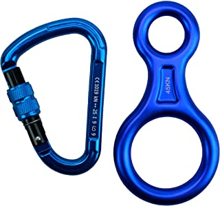 featured product Geelife Outdoor 25KN D-ring Hook Locking Carabiners & 45KN Descender The Same Color Group A Rock Climbing Rappelling Devices