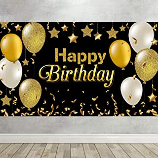 Happy 30th 40th 50th 60th Birthday Backdrop Black Gold Decoration for Men Women Baby Birthday Party Background Photo Studi...
