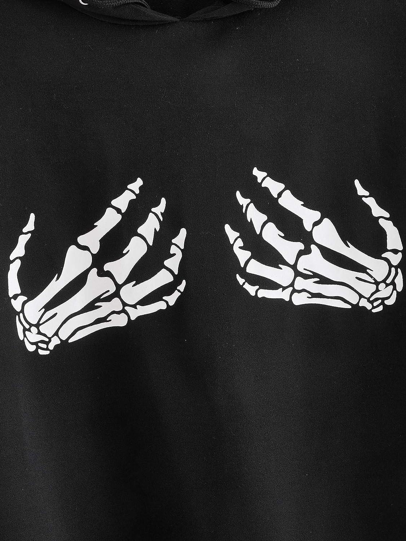 SOLY HUX Women's Plus Size Skeleton Print Long Sleeve Drawstring Hoodie Sweatshirt