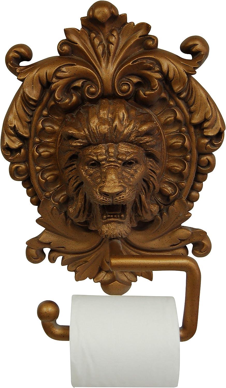 Hickory Manor House Lion Medallion Plaque Toilet Paper Holder, Antique gold