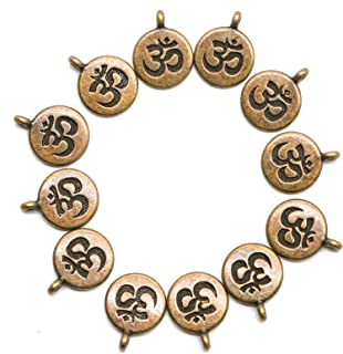 AQUEENLY OHM OM Charms, 30 pcs Aum Pendant Indian Buddha Energy Charms for Jewelry Making Supplies, Bronze