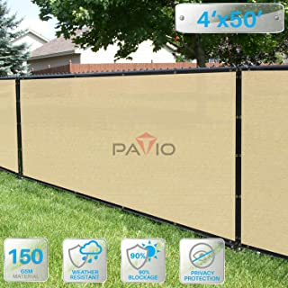 Patio Paradise 4' x 50' Tan Beige Fence Privacy Screen, Commercial Outdoor Backyard Shade Windscreen Mesh Fabric with Brass Gromment 88% Blockage- 3 Years Warranty (Customized