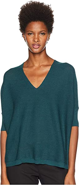 Fine Merino Double Links V-Neck 3/4 Sleeve Top