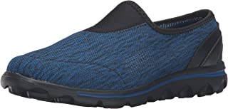 Propét Women's TravelActiv Slip-On Sneaker Oxford, Black/Navy Heather, 6.5 Narrow