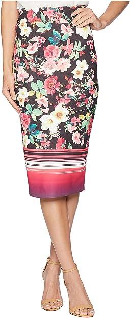 Floral Striped Midi Pencil Scuba Skirt