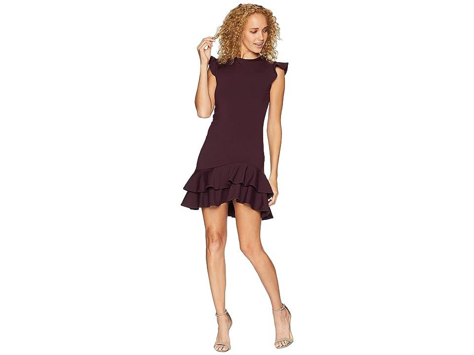 Susana Monaco Sleeveless Ruffle Hem Dress (Bordeaux) Women